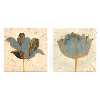 Blue Poppies Canvas Art Prints, Set of 2