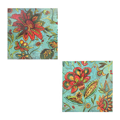 Jacobean Floral Canvas Art Prints, Set of 2