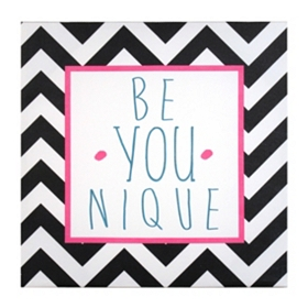 Black & White Chevron Be Younique Canvas Art Print
