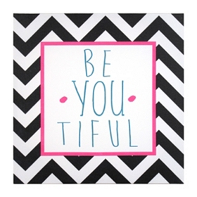 Black & White Chevron Be Youtiful Canvas Art Print