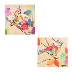 Patchwork Birds Canvas Art Prints, Set of 2