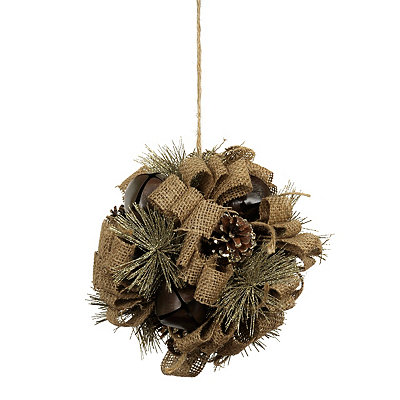 Burlap Jingle Bell Kissing Ball
