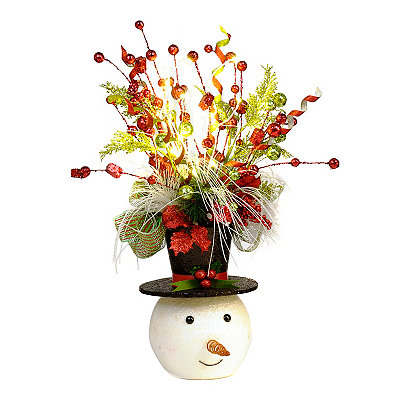 Pre-Lit Jolly Snowman Floral Arrangement