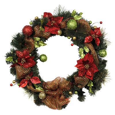 Holly Jolly Poinsettia & Ribbon Wreath