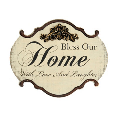 Distressed Ivory Bless Our Home Plaque