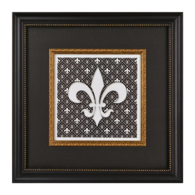 Regal Black & White Fleur-de-lis Shadowbox