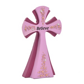 Purple Believe Cross Statue