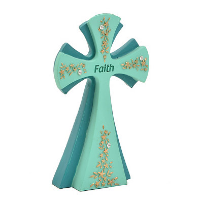 Turquoise Faith Cross Statue