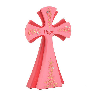Pink Hope Cross Statue