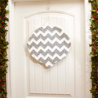 White & Silver Chevron Ornament Wall Decoration