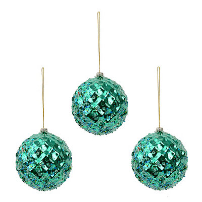 Small Blue Iced Metallic Ornament, Set of 3