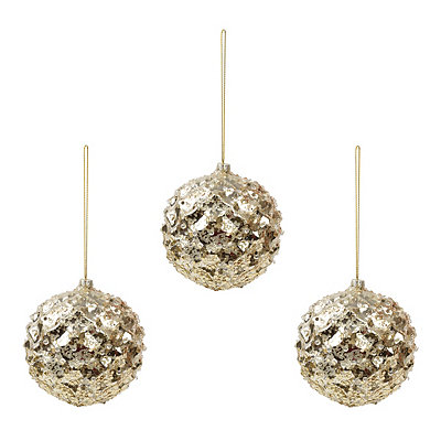 Small Champagne Iced Metallic Ornament, Set of 3