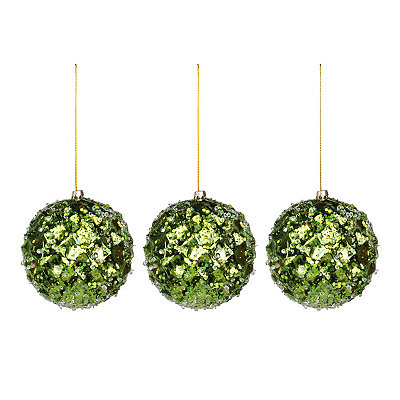 Small Iced Metallic Green Ornament, Set of 3