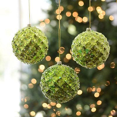 Small Iced Metallic Green Ornament, Set of 3