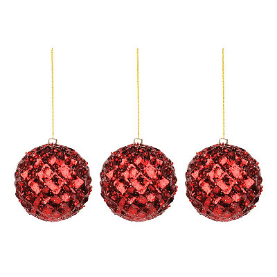 Small Iced Metallic Red Ornament, Set of 3