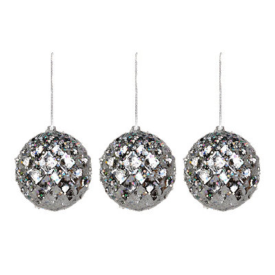 Small Iced Metallic Silver Ornament, Set of 3