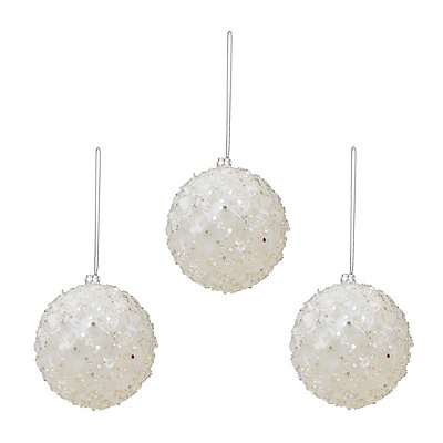 Small White Iced Metallic Ornament, Set of 3