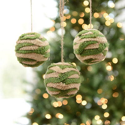 Green and White Burlap Stripe Ornament, Set of 3