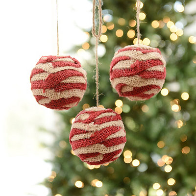 Red and White Burlap Stripe Ornament, Set of 3