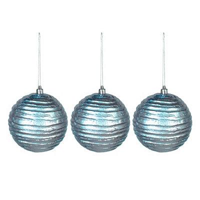 Aqua Wavy Metallic Ornament, Set of 3