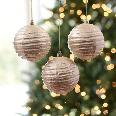 Champagne Wavy Metallic Ornament, Set of 3