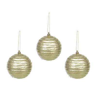 Green Wavy Metallic Ornament, Set of 3