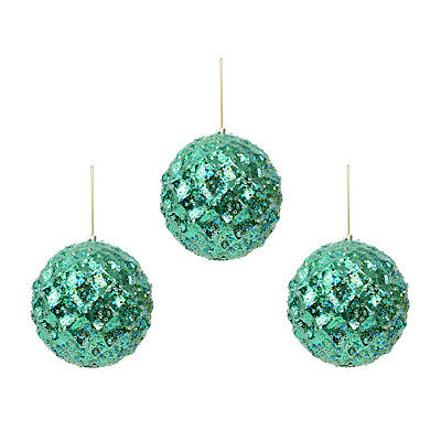 Large Blue Iced Metallic Ornament, Set of 3
