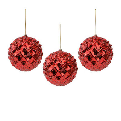 Large Iced Metallic Red Ornament, Set of 3