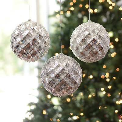 Large Iced Metallic Silver Ornament, Set of 3