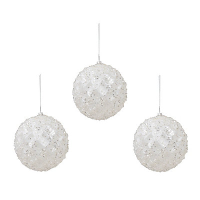 Large White Iced Metallic Ornament, Set of 3