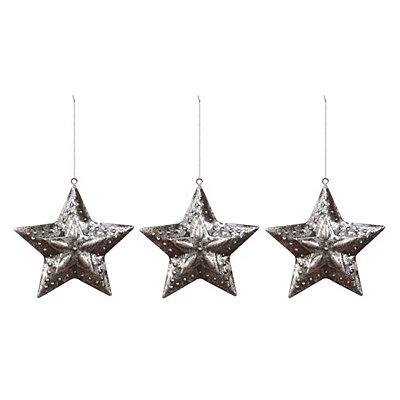 Antique Silver Metal Star Ornaments, Set of 3