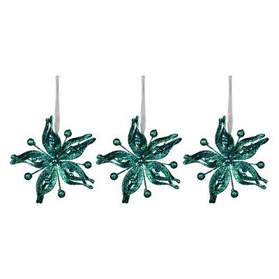 Blue Metallic Poinsettia Ornament, Set of 3