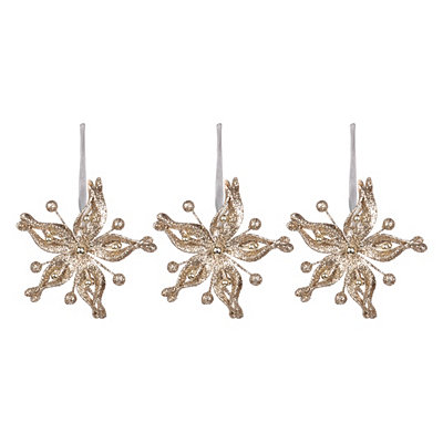 Champagne Metallic Poinsettia Ornament, Set of 3