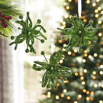 Green Glitz Poinsettia Ornament, Set of 3