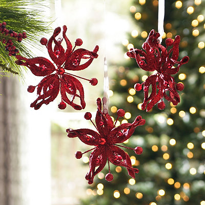 Red Glitz Poinsettia Ornament, Set of 3