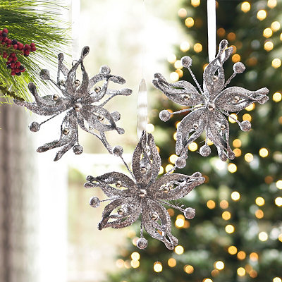 Silver Glitz Poinsettia Ornament, Set of 3