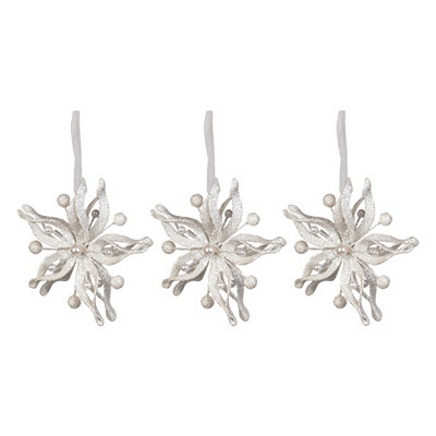 White Metallic Poinsettia Ornament, Set of 3