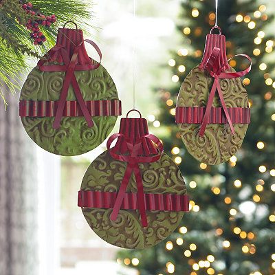 Green Stamped Metal Ornament, Set of 3