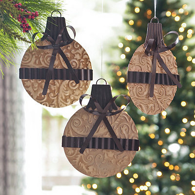 Ivory Stamped Metal Ornament, Set of 3