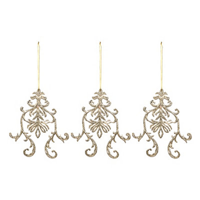 Champagne Medallion Ornaments, Set of 3