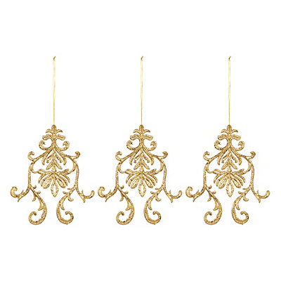 Gold Medallion Ornaments, Set of 3