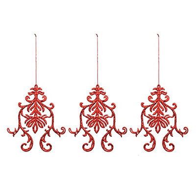 Red Glitter Medallion Ornament, Set of 3