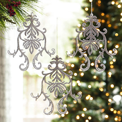 Silver Glitter Medallion Ornament, Set of 3
