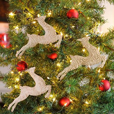 Ivory Embossed Reindeer Ornaments, Set of 3