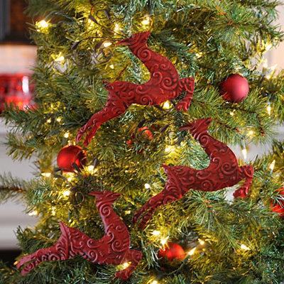 Red Embossed Reindeer Ornaments, Set of 3