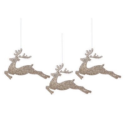 Champagne Glitter Deer, Set of 3