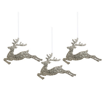 Silver Glitter Deer, Set of 3