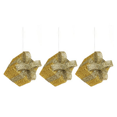 Glittery Gold Gift Box Ornaments, Set of 3