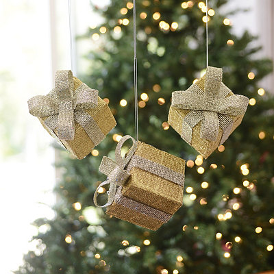 Glittery Gold Gift Box Ornaments, Set of 3