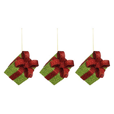 Glittery Green Gift Box Ornaments, Set of 3
